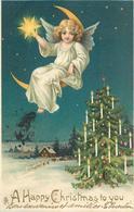 A HAPPY CHRISTMAS TO YOU - Angelot Et étoile.(carte Gaufrée) - Engelen