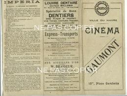Programme CINEMA MUET Juillet 1920 Gaumont Le Havre Impéria - Programmes
