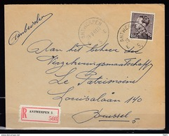 848A Op Aangetekende Brief Gestempeld ANTWERPEN E 5 E - 1936-1951 Poortman