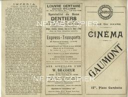 Programme CINEMA MUET Juillet 1920 Gaumont Le Havre Impéria - Programs