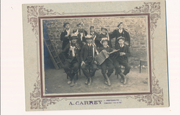 Grande Photo A. Carrey Thourie Bretagne Conscrits Accordéon Cocardes Vin - Guerre, Militaire