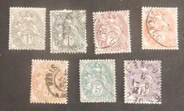 FRANCE TYPE BLANC YT 107/107A+108/111+233 OBLITÉRÉS   ANNÉES 1900/1924 - 1900-29 Blanc