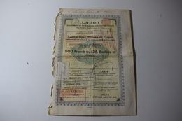 Labor Société Des émailleries Et Ateliers De Varsovie 500 Frs 125 Roubles Or 1896 Huy - Industrie