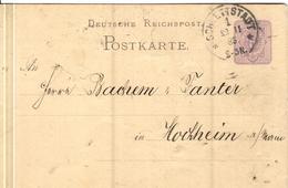 DR+ Deutsches Reich 1880 Mi 40 Ziffermarke Auf PK Stempel Schlettstadt 22.11.85 GH - Cartas