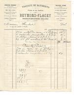 Facture 189? / 21 POUILLY EN AUXOIS / REYMOND-FLAGEY / Travaux, Quincaillerie, Limes, Lampes, Eclairage - 1800 – 1899
