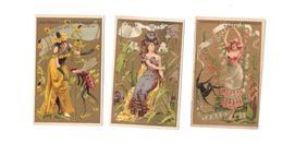 Lot De 3 CHROMOS, PARFUMERIE Ste HYGIENIQUE PARIS, Femme , Fleurs, - Trade Cards