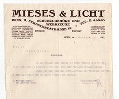 1929 AUSTRIA, VIENNA TO SENTA, SERBIA, LETTER, MIESES & LICHT LETTER HEAD - Briefe U. Dokumente