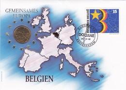 Enveloppe 2485er Pièce 5 Francs Belges Europa Gemeinsames Douane Rekkem - Numisletters