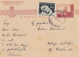Croatia WWII NDH 1944 Posta Stationery With War Tax Stamp - Croatia