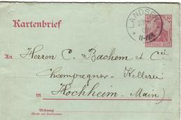 DR+ Deutsches Reich 1902 Mi 71 Germania Auf KB Stempel Landser 23.6.02 GH - Allemagne