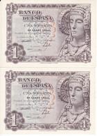 PAREJA CORRELATIVA DE 1 PTA DEL AÑO 1948 SERIE A - DAMA DE ELCHE  SIN CIRCULAR -UNCIRCULATED (BANKNOTE) - 1-2 Pesetas