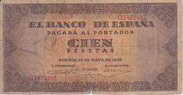 BILLETE DE ESPAÑA DE 100 PTAS 20/05/1938 SERIE G (BANK NOTE) - [ 3] 1936-1975 : Régimen De Franco