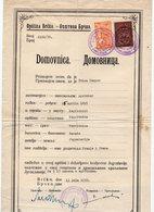 1939. KINGDOM OF YUGOSLAVIA,BOSNIA,BRCKO,1 BRCKO MUNICIPALITY REVENUE STAMP,1 STATE REVENUE,CITIZENSHIP CERTIFICATE - Bosnia And Herzegovina