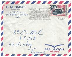"""1966 - TIMBRE N° 365 """" PEUPLEMENT ILE BOURBON """" SEUL SUR LETTRE SECAP ST SAINT DENIS REUNION ENTETE BADAT COMMERCANT CFA - Covers & Documents"""