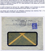 Lettre Avec Perforé KF 14 Flamme 7ième Foire De Rouen - France