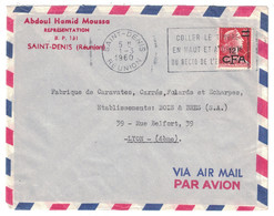1960 - TIMBRE N° 337A MARIANNE DE MULLER SURCHARGÉ CFA Sur LETTRE SECAP ST SAINT DENIS REUNION Pour LYON FRANCE MOUSSA - Reunion Island (1852-1975)