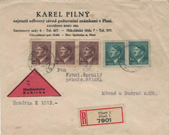 Karel Pilny - Mikulasska - R-Bief Hitler - Verschlussvignette - Bohemia & Moravia
