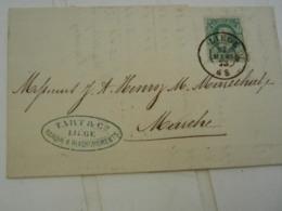 LETTRE DE BANQUE TART LIEGE - 10c PETITE BARBE 1873 - BELLES OBLIT. RONDES - LIEGE+ MARCHE + CACHET BANCAIRE - Belgium