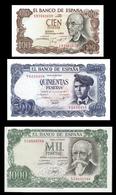 # # # Set 3 Banknoten Spanien (Spain) 100 + 500 + 1.000 Pesetas 1971 UNC # # # - [ 3] 1936-1975: Regime Van Franco