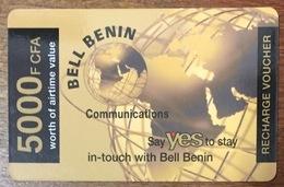 BÉNIN BELL BENIN CARTE PRÉPAYÉE 5000 FCFA 31/12/2004 PHONECARD  PREPAID CARTE TÉLÉPHONIQUE À CODE - Bénin