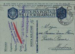 FRANCHIGIA WWII POSTA MILITARE 76 1941 COSENZA X MODENA - 1900-44 Vittorio Emanuele III
