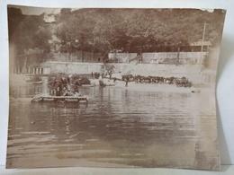Loire. Le Pertuiset. Unieux. 1898. Militaires. Manœuvre Des Dragons. Traversée Du Radeau. 11x8.5 Cm - Anciennes (Av. 1900)