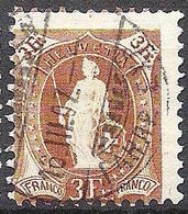 Schweiz 1905: 13 Vertikalzähne WZ I Zu 92A Mi 80C Yv 99 - 3 Fr Braun Mit O ST.GALLEN 16.III.07 FAHRP.EXP (Zu CHF 190.00) - 1882-1906 Armoiries, Helvetia Debout & UPU