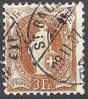 Schweiz 1905: 13 Vertikalzähne WZ I Zu 92A Mi 80C Yv 99 - 3 Fr Braun Mit O ST.GALLEN 19.II.07 FAHRP. EXP (Zu CHF 190.00) - 1882-1906 Armoiries, Helvetia Debout & UPU