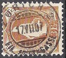 Schweiz 1905: 13 Vertikalzähne WZ I Zu 92A Mi 80C Yv 99 - 3 Fr O ZÜRICH 17.VII.07 ZAHNWEH  / MAL AU DENT (Zu CHF 190.00) - 1882-1906 Armoiries, Helvetia Debout & UPU