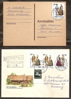 LITHUANIA 1992●Mi 508-10 Costumes (complet Set) On Cover & Postcard - Lituania