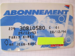 "Telecarte Air Inter"" Passeport Abonnement  "" - Telefoonkaarten"