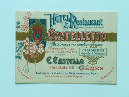 Torino 10131 Hotel Castelletto Map Pension De Famillie Litho Cassina - Bars, Hotels & Restaurants