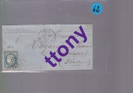Un Timbre  25 C Bleu   Type Cérès  Sur Une  Lettre  Cachet Lyon Pour Crémieu     1871 - 1849-1876: Periodo Classico