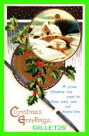 JOYEUX NOEL - CHRISTMAS GREETINGS - A JOYOUS CHRISTMAS MAY YOURS BE - TRAVEL IN 1912 -  EMBOSSED - - Kerstmis