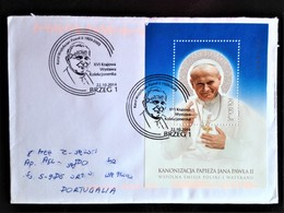 Poland, Circulated Cover With A Block To Portugal « POPE JOHN PAUL II », 2014 - 1944-.... Republic