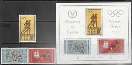 Cyprus   1964   Sc#241-3a   Olympics Set MLH & Souv Sheet MNH  2016 Scott Value $10.20 - Cyprus (Republic)