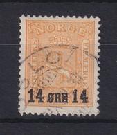 Norwegen 1929 Freimarke Mit Aufdruck 14 Öre Mi.-Nr. 154 Gestempelt - Noruega
