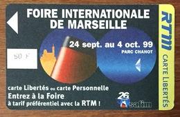 TICKET FOIRE DE MARSEILLE DE 1999 TITRE DE TRANSPORT 50 FRANCS MAGNÉTIQUE QUE POUR LA COLLECTION - Europa