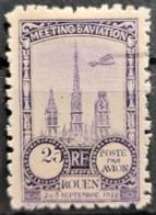 FRANCE 1922 - MLH - Precurseur Poste Aérienne - ROUEN 2.,3. Sept.1922 - 25c - Aéreo