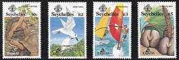 1985 Seychelles EXPO'85:  White Tern, Aldabra Giant Tortoise, Coco De Mer, Windsurfing Set (** / MNH / UMM) - Otros