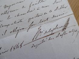 Henri DE LAPLANE (1806-1873) Député 1848 SISTERON. Historien SAINT OMER. Autographe - Autographs
