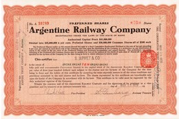 - Certificat Nominatif - Argentine Railway Company - Titre De 1920 - - Chemin De Fer & Tramway