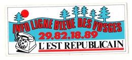 Autocollant Info Ligne Bleue Des Vosges L'Est Républicain - Format: 18.5x8cm - Stickers