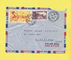 Asie Lettre  Par Avion Du Vietnam De Saïgon Le 17 11 1954  Pour Paris Avec Timbre Paysage  Et Poste Aérienne Voir Scan - Viêt-Nam