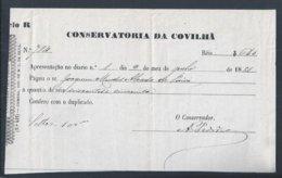 Recibo Da Conservatória Da Covilhã Emitido Em 1881. Receipt From The Covilhã Conservatory Issued In 1881. - Portugal