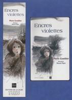 -008-  LA LAUZE Ed. : ENCRES VIOLETTES - DUO MARQUE PAGE + CARTE - Marque-Pages