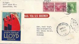 Ausland Brief  Pittsburgh - Wallerstädten  (Mail Via S/S Bremen / Vignette Lloyd)        1932 - Estados Unidos