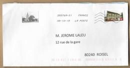 Enveloppe Entière La Teste-de-Buch (33) église 08-10-2019 Abbaye De Longuay Lettre Verte - Marcofilia (sobres)
