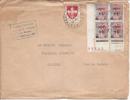 Montreuil Sur Mer 1961 Quatre Timbres Surchargés Fréjus + Blason De Lille Pour Camiers Plis Sur L'enveloppe - Marcofilia (sobres)