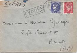 CACHAN SEINE 1941 Lettre Par EXPRES Pour Biarritz Timbres Ceres + Pétain Tarif 3.50F - Marcofilia (sobres)